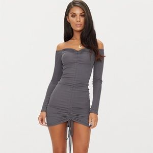 Charcoal Grey Long Sleeve Ruched Bodycon Dress